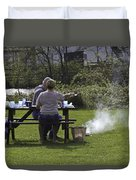 Couple Enjoying A Picnic In A Grassy Area Duvet Cover