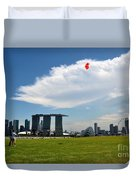 Couple Flies Kite Marina Bay Sands Singapore Duvet Cover