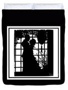 Couple In Love Silhouette Duvet Cover