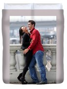 Couple Laughing Duvet Cover