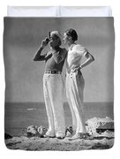 Couple On The Maine Shore Duvet Cover