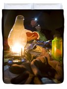 Couple Reading By Lantern, India Duvet Cover