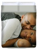 Couple Snuggles Duvet Cover by Darren Greenwood