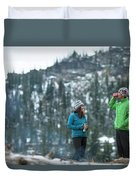 Couple Standing By A Campfire Duvet Cover