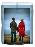 Couple Standing On Windy Moorland Duvet Cover