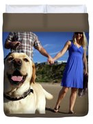 Couple Take Their Dogs For A Walk Duvet Cover