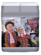 Couples In Polish National Costumes Duvet Cover
