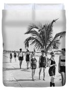 Couples Strolling Along The Pathway On The Beach. Duvet Cover