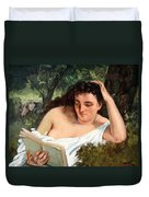 Courbet's A Young Woman Reading Duvet Cover