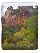 Court Of The Patriarchs Zion Np Utah Duvet Cover by Tim Fitzharris