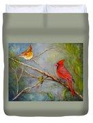 Courting Cardinals, Birds Duvet Cover