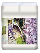 Courtyard With Cherry Blossoms Duvet Cover
