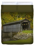 Covered Bridge In Fall Duvet Cover