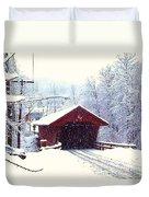 Covered Bridge In Winter Duvet Cover