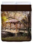 Covered Bridge On The River Walk Duvet Cover