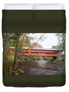 Covered Bridge Over Swift River Duvet Cover