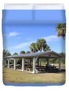 Covered Picnic Tables Duvet Cover