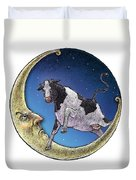 Cow And Moon Duvet Cover