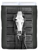 Cow Elk Skull And Feathers Duvet Cover