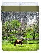 Cow Grazing In Pasture In Spring Duvet Cover