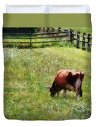 Cow Grazing In Pasture Duvet Cover