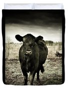 Cow In The Winter Pasture  Duvet Cover