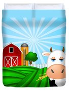 Cow On Green Pasture With Red Barn With Grain Silo  Duvet Cover