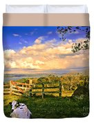 Cow Out To Pasture In Costa Rica Duvet Cover