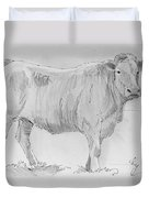 Cow Pencil Drawing Duvet Cover