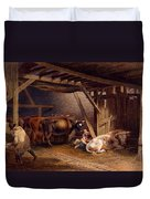 Cow Shed Duvet Cover by Robert Hills