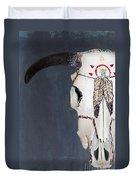 Cow Skull In Blue Duvet Cover