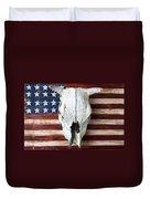 Cow Skull On Folk Art American Flag Duvet Cover by Garry Gay