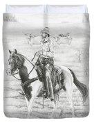 Cowboy And Horse No Fences Duvet Cover
