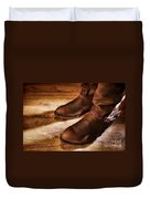 Cowboy Boots On Saloon Floor Duvet Cover