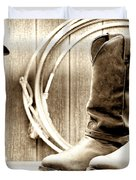 Cowboy Boots Outside Saloon Duvet Cover by Olivier Le Queinec