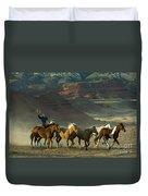 Cowboy Driving Horses Duvet Cover