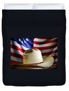 Cowboy Hat And American Flag Duvet Cover
