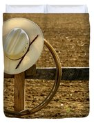 Cowboy Hat And Lasso On Fence Duvet Cover by Olivier Le Queinec