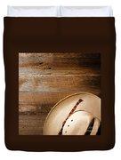Cowboy Hat On Wood Duvet Cover