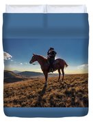 Cowboy Looks Out Over Historic Last Duvet Cover
