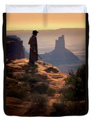 Cowboy On A Cliff Duvet Cover