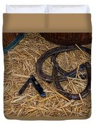 Cowboy Theme - Horseshoes And Whittling Knife Duvet Cover