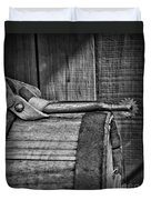 Cowboy Themed Wood Barrel And Spur In Black And White Duvet Cover