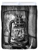 Cowboy Themed Wood Barrels And Lantern In Black And White Duvet Cover