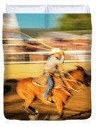 Cowboys Ride And Rope Cattle During San Duvet Cover