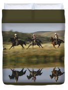 Cowboys Riding With Dogs Oregon Duvet Cover