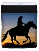 Cowgirl At Sunrise Duvet Cover
