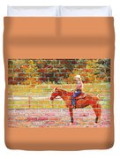 Cowgirl In Bricks Duvet Cover
