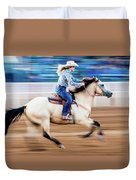 Cowgirl Rides Fast For Best Time Duvet Cover