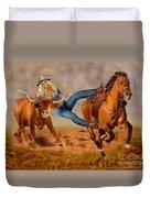Cowgirl Steer Wrestling Duvet Cover